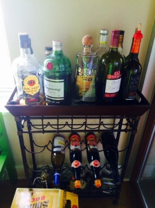 My lovely alcohol cart, stocked with a bunch of things I shouldn't be drinking on a diet.
